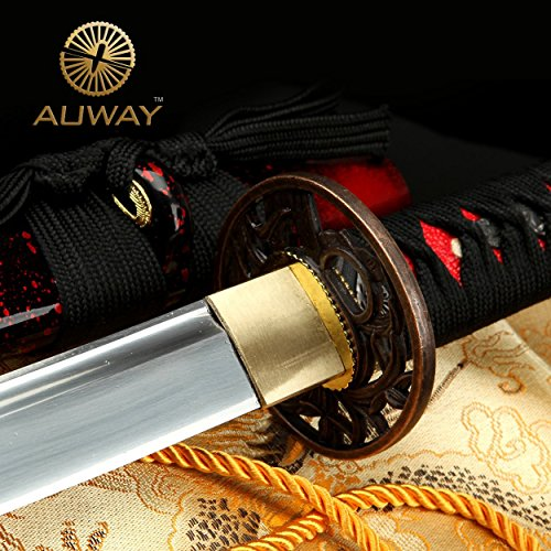 Auway 40 Orchid Tsuba Fully Handmade High Carbon Steel Full Tang Blade Real Japanese Katana Samurai Swords