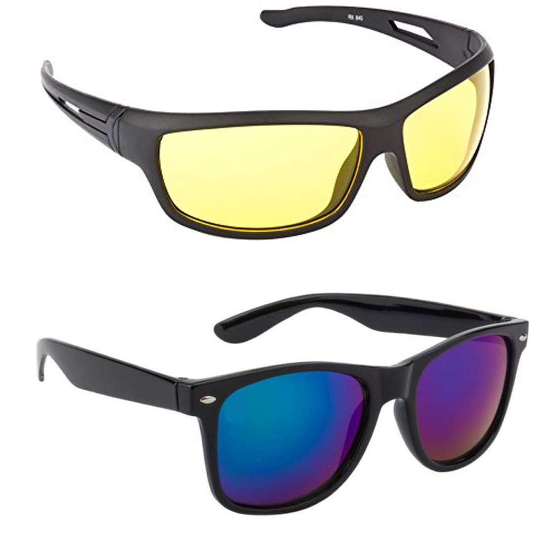 ELLIGATOR Day and Night Fishing Outdoor Anti Glare Unisex Sunglasses (Yellow and Blue)