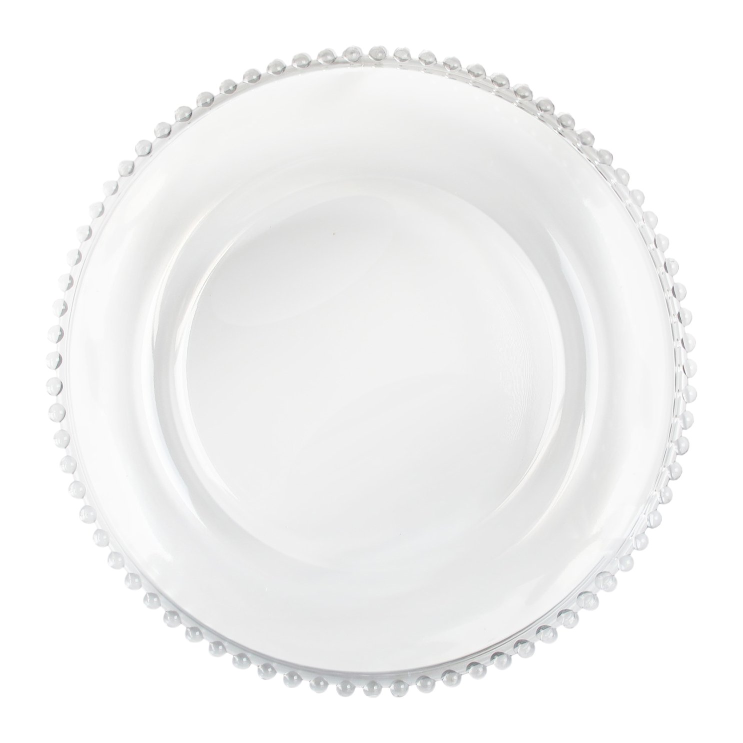ChargeIt by Jay Clear Beaded Glass Charger Plate Jay Imports 1900036