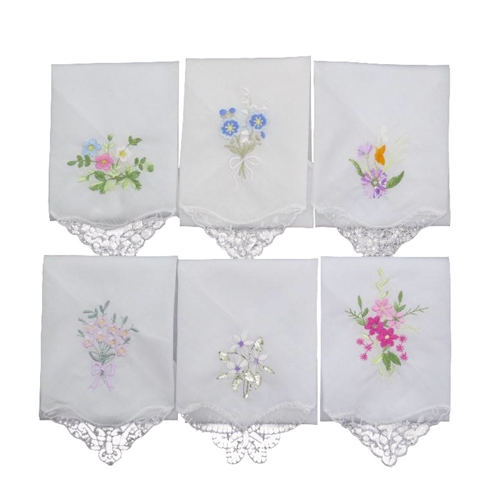 Cute Womens Vintage Floral Cotton Handkerchiefs for Wedding Party (Embroidery, Set of 12 Pieces)