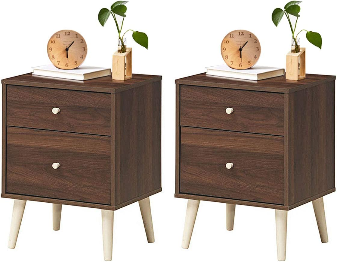 Giantex Nightstand W Drawers and Solid Rubber Wood Legs, Large Storage Space Side Sofa Table for Bedroom, Living Room, Hallway Storage Cabinet Organizer Beside End Table 2, Coffee