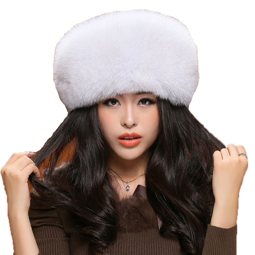 MINGXINTECH womens real fox fur hat hand-made fashion pure color warm winter cap by MINGXINTECH (Image #1)