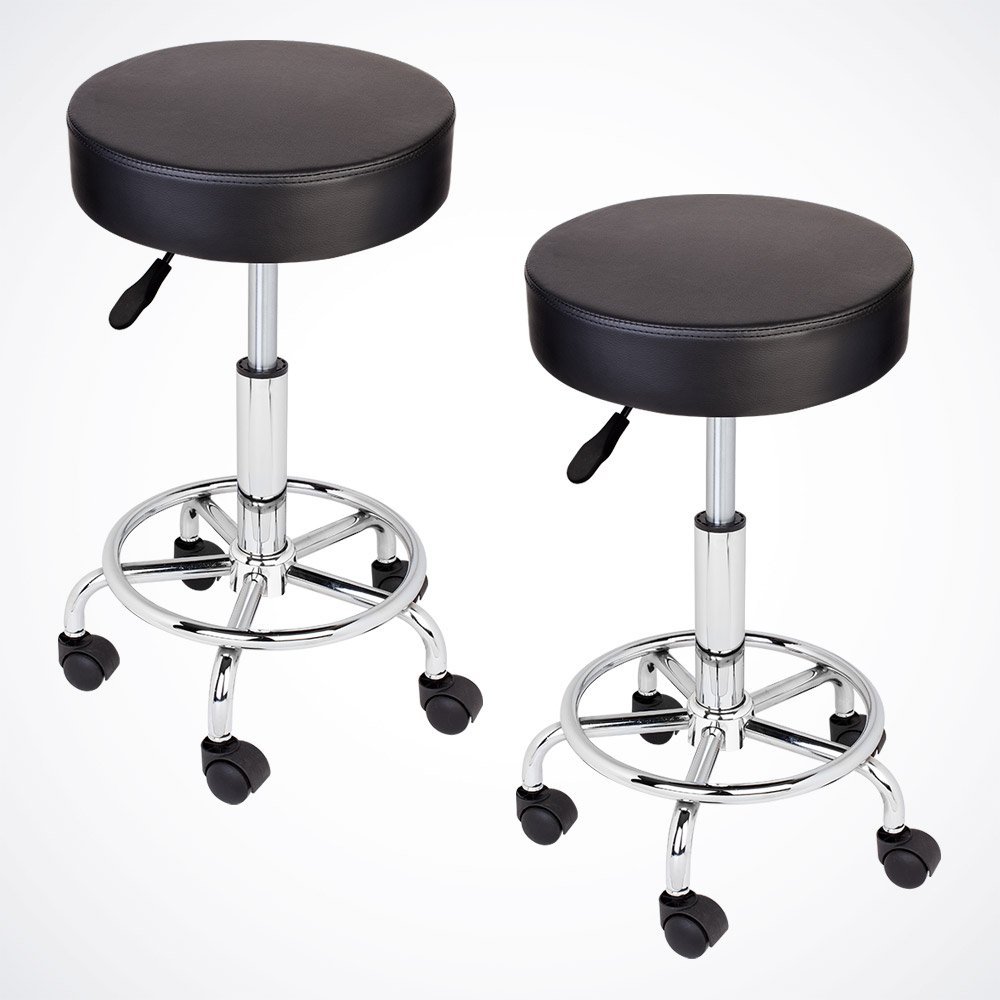 GotHobby 2 Black Adjustable Tattoo Salon Stool Hydraulic Rolling Chair Facial Massage Spa