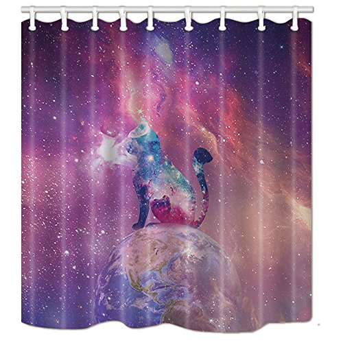 NYMB Space Nebula in the Cosmos Universe Galaxy, Cat Silhouette on Earth Solar Bath Curtain, Polyester Fabric Waterproof Shower Curtains, 69X70 in, Shower Curtain Hooks Included, Purple (Multi11) by NYMB