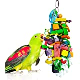 SunGrow Parrot Chewing Toy, 15.7x4 Inches, Edible Chew, Nibbling Keeps Beaks Trimmed, Multicolored Wooden Blocks Attract Pet's Attention, Reduces Aggression and Loneliness of Your Birds, 1 Piece