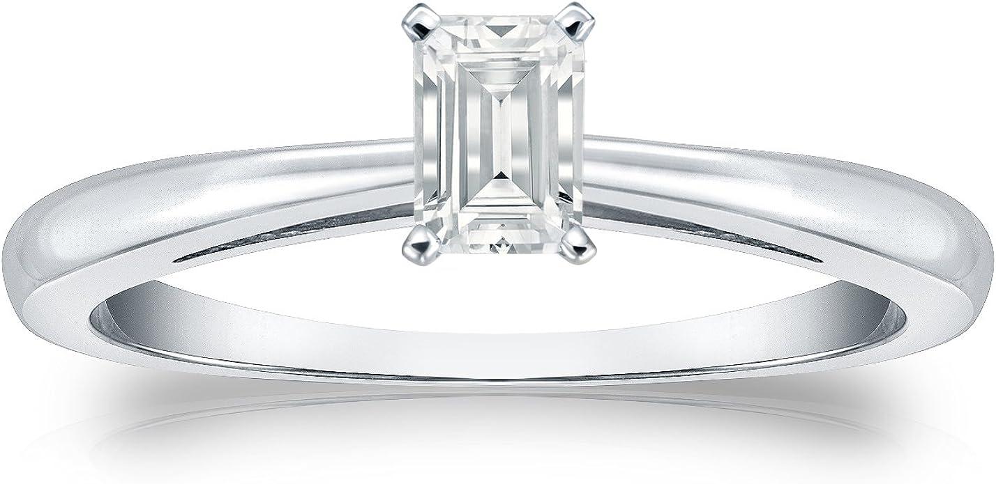 Wedding Ring Engagement Ring Art Deco Ring, 1.00 CT TGW Emerald Anniversary Ring 14k Solid White Gold Zirconia Engagement Ring