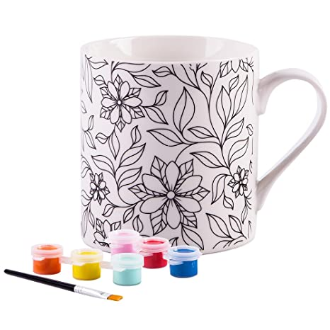 Amazon Com Paint Your Own Mug White 8 Oz Porcelain Mug Flowers