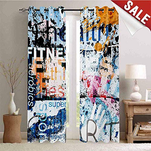 Hengshu Fitness Blackout Draperies for Bedroom Health Wellness Aerobics Sports Words Collection on Grunge Vintage Style Backdrop Thermal Insulating Blackout Curtain W72 x L96 Inch Multicolor