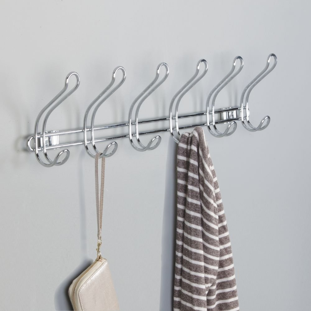 Chrome 07230 Robes Clothes or Towels Hats 6 Dual Hooks InterDesign Classico Wall Mount//Over Door Storage Rack Organizer Hooks for Coats