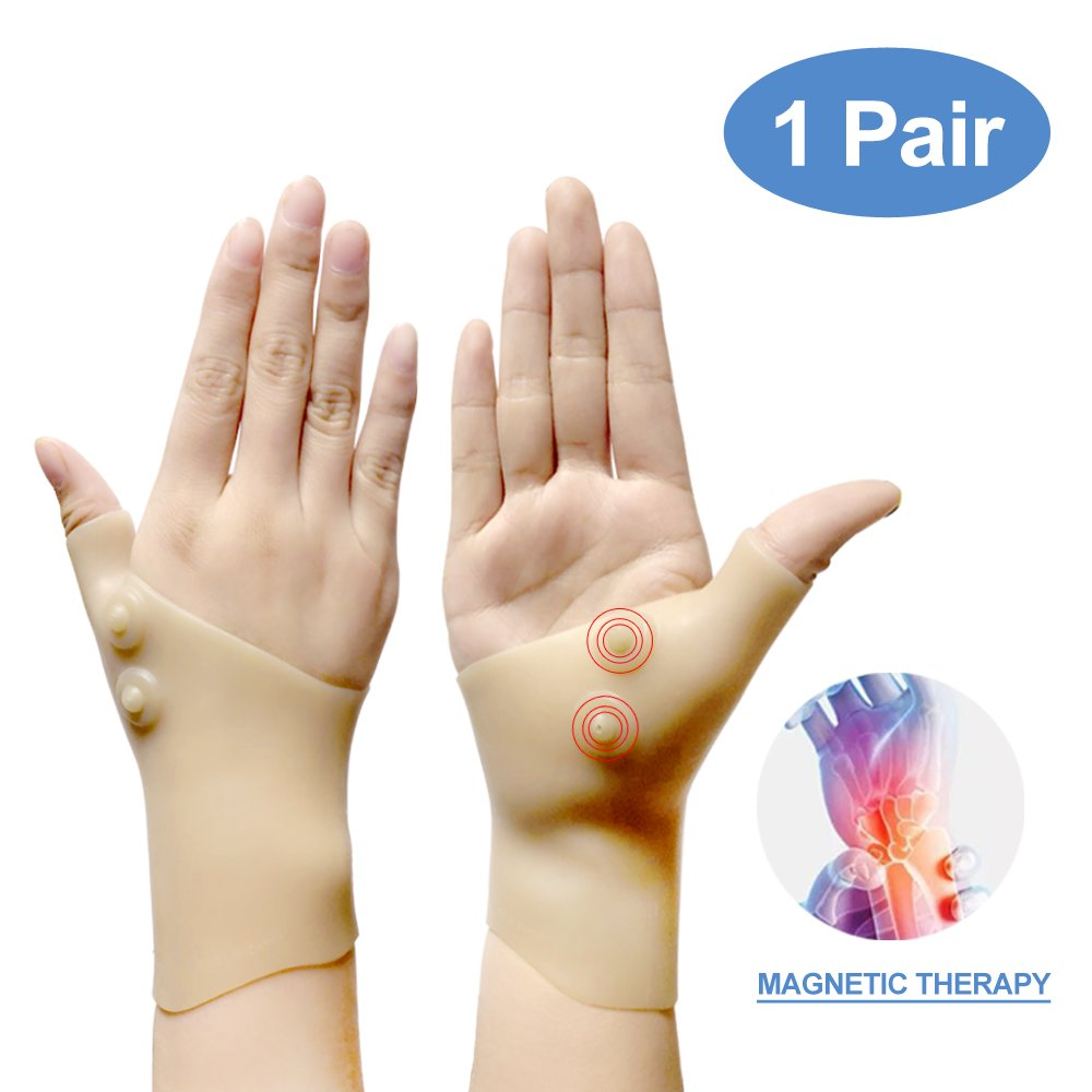 Gel Wrist Support Braces,Gloves for Men&Women, 1 pair Magnetic Therapy New Material Thumb Splint , Great for Tenosynovitis, Typing, Wrist & Thumb Pain, Rheumatism, Arthritis & more (Nude)