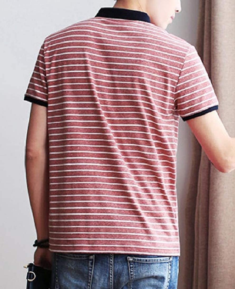 Winwinus Men Basic Style Striped Polo-Collar Short-Sleeve Blouse T-Shirt Tops