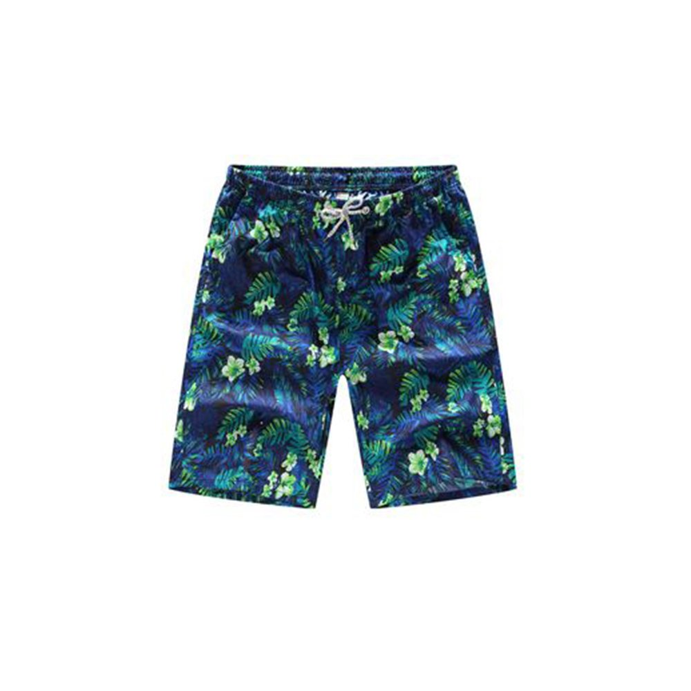 Aszune Printed Man's Swim Trunks, Quick Dry Beach Shorts for Poolside Green Leaf(3XL)