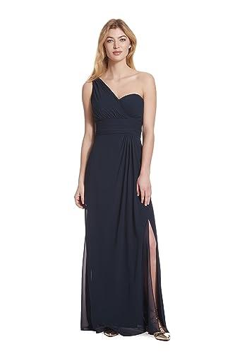 Samantha Paige Women's One-Shoulder Pleated A-Line Chiffon Dress