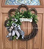Dog Wreath, Grapevine Dog Wreath, Paw Wreath, Dog Wreaths, Paw Wreaths, Paw Print Ribbon, Grapevine Dog Wreath, Dog Bone Sign, Welcome Bone