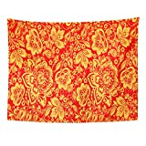 (US) TOMPOP Tapestry Yellow Russia Hohloma in Red and Gold Colors Russian Traditional Design Khokhloma Vintage Home Decor Wall Hanging for Living Room Bedroom Dorm 60x80 Inches