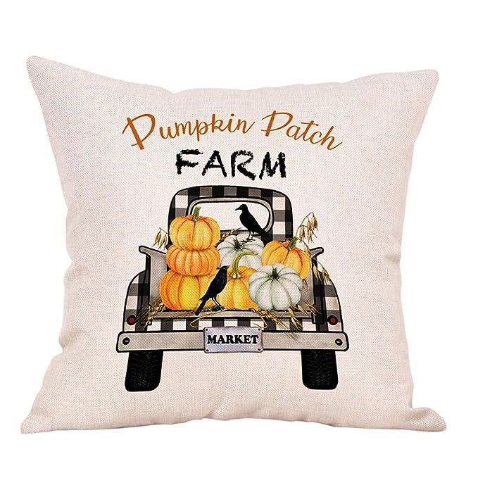 Xhonp Fall Pumpkin Truck Throw Pillow Cover Happy Fall Throw Pillow Case .. New