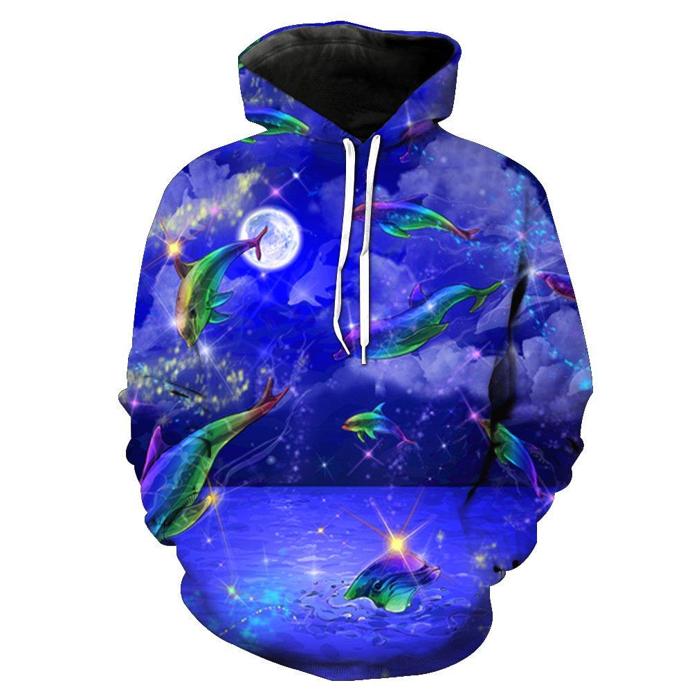 Unisex 3D Printed Hoodie Marine Pattern Pullover Mens Baseball Uniform Breathable Sweater Sports Large Pocket