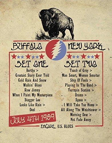 GRATEFUL DEAD Inspired Poster   Print   11x14   Buffalo   Set list   Concert Poster
