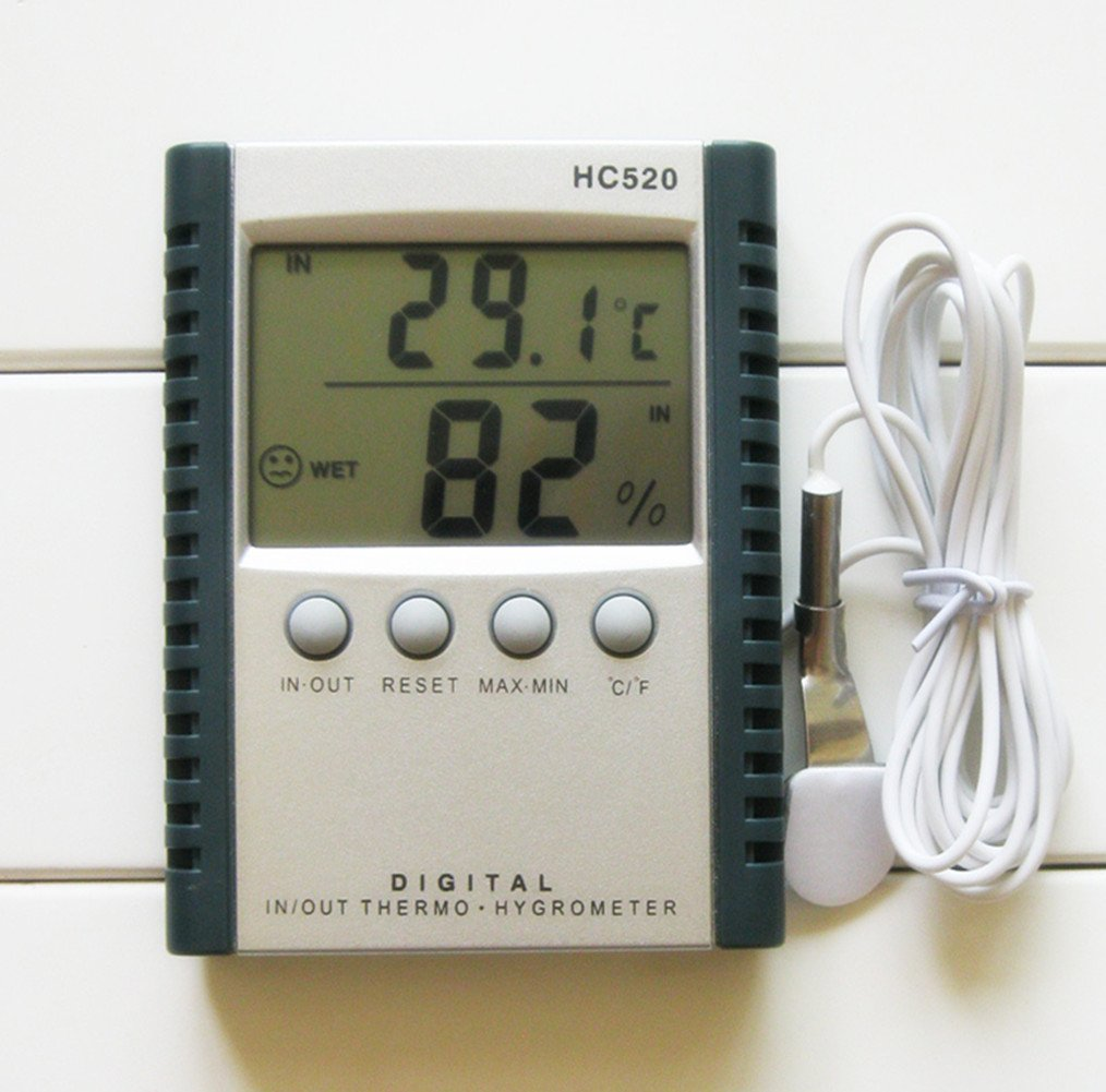 Acmee Indoor Humidity Monitor Thermometer Sensor Thermostat Home Office Digital Indoor Hygrometer with Memory (HC520)