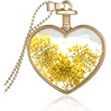 Collier avec Pendentif Forme de Coeur En Verre Médaillon de Fleur Artificielle Jaune