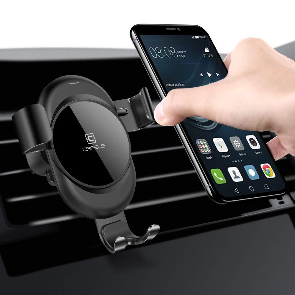Cafele Auto Handy Halterung KFZ Lü ftung Halter fü r iPhone, Samsung, Huawei, Navi, Smartphone (Schwarz)