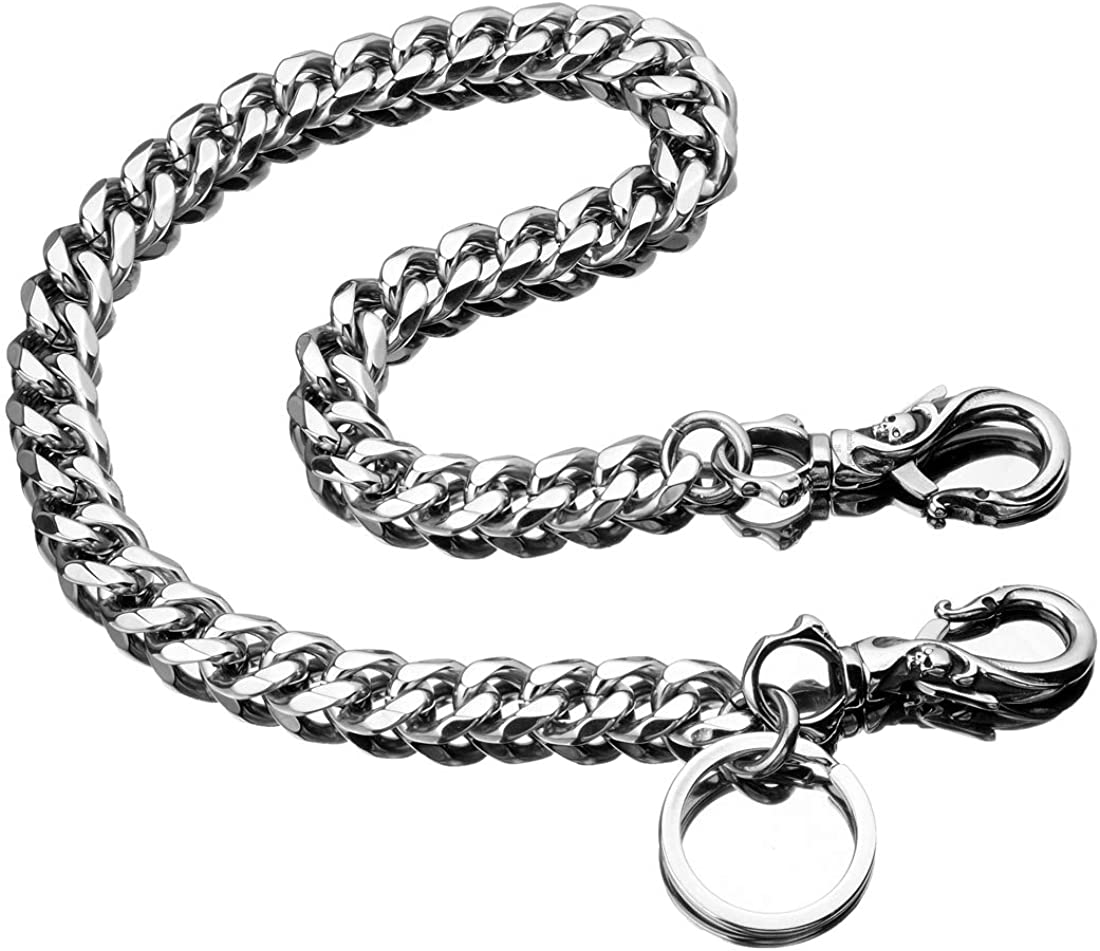 Skeleton Punk Wallet Chain,Wallet Long Purse Key Chain with Chain for Biker Trucker Motorcycle Pants Jean,100% Stainless Steel Never Rust,Never Fade(Cuban Chain): Clothing