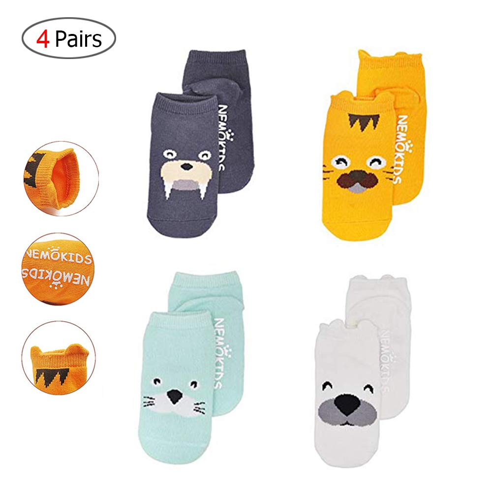 AidShunN Baby Socks Toddler Anti-Slip Cute Cartoon Animal Cotton Unisex Kids Newborn Infant Spring Autumn 4 Pairs,0-2 Years Old,S
