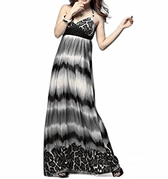 Grey leopard print maxi dress