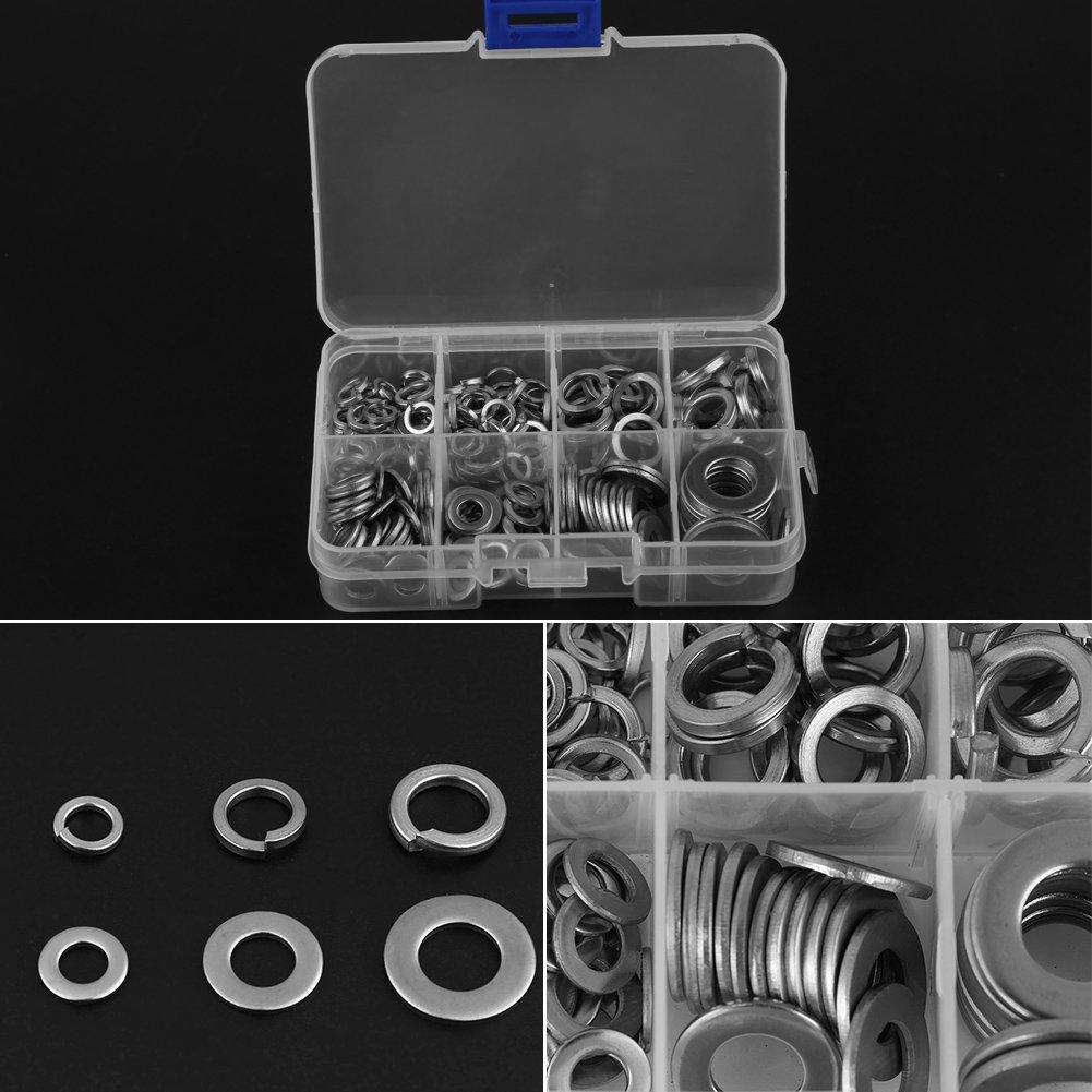 Flat Washer,Vifer Flat /& Spring Washer Lock Tool Kit M5 M6 M8 M10 with Box 200 PCS