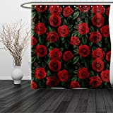 HAIXIA Shower Curtain Rose Valentines Day Retro Style Petals with Leaves Ornamental Growth Pattern Ruby Hunter Green Black