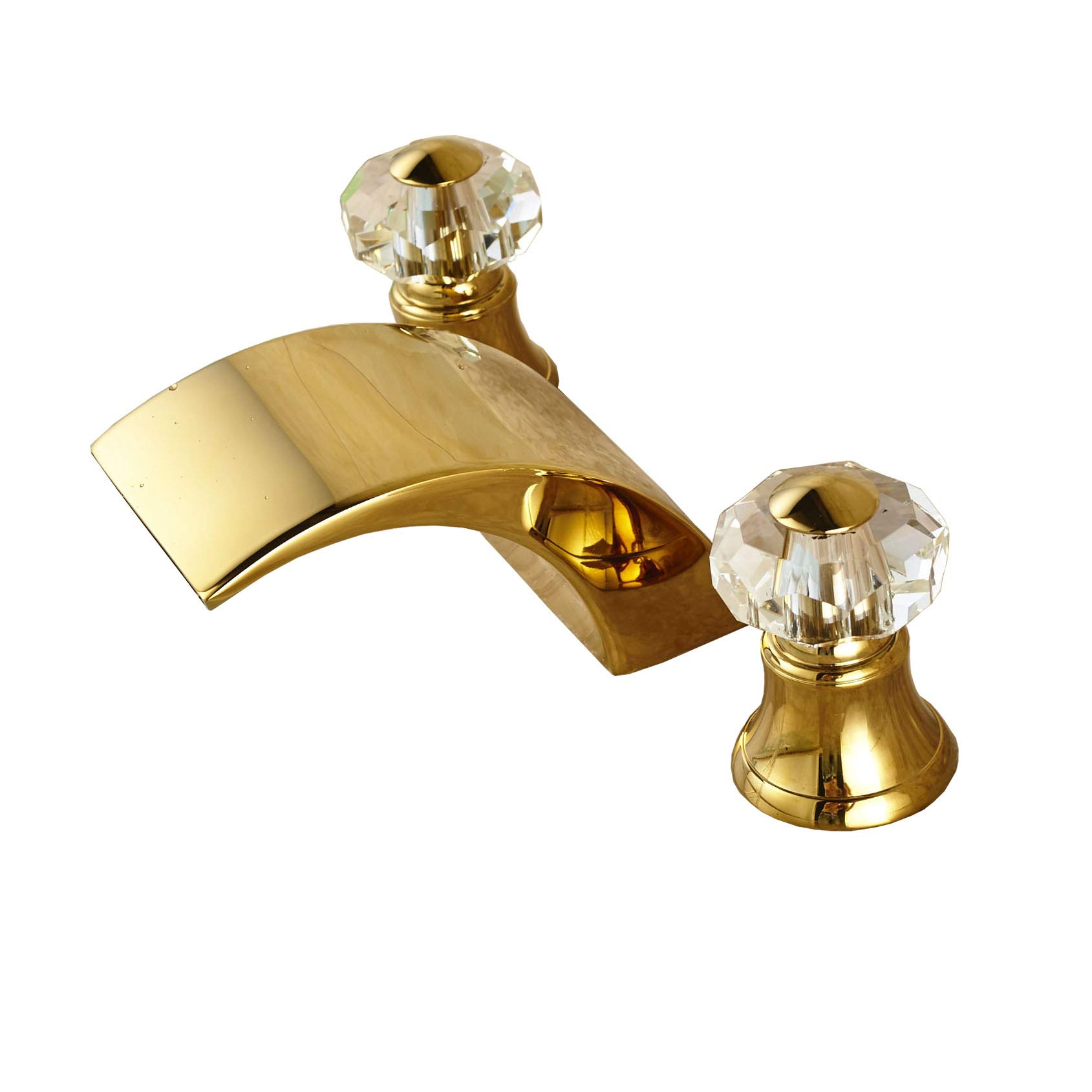 Rozin Luxury Gold Finish Waterfall Bathroom Sink Faucet Two Crystal Knobs  Widespread Mixer Tap