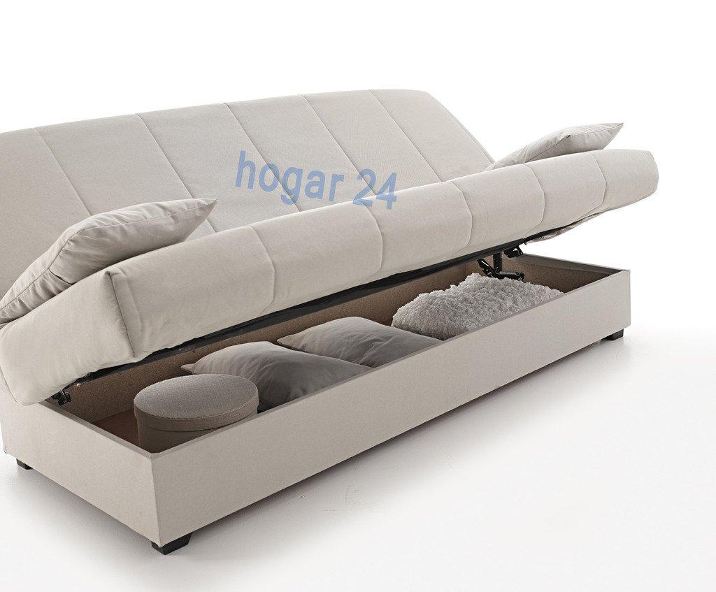 Sofa Cama Clic CLAC con ARCÓN DE ALMACENAJE Gris: Amazon.es ...