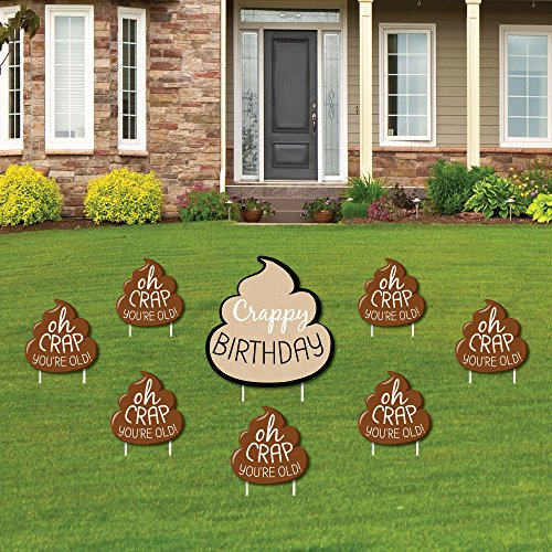 Oh Crap, You're Old! – Funny Yard Sign & Outdoor Lawn Decorations – Poop Birthday Party Yard Signs – Set of 8