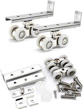 Juego de 2 rodillos dobles para puerta de ducha de acero inoxidable con 4 ruedas para puerta corredera, puerta corredera de madera para colgar (1 par): Amazon.es: Bricolaje y herramientas