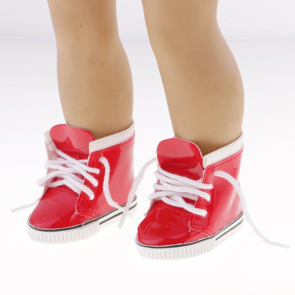 Gazechimp 1 Paar puppenschuhe - PU Schnüren Stiefeletten Turnschuhe - Outfit Für 18 '' American Girl Puppe Dress Up