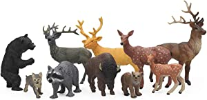 UANDME 10 PCS Forest Animal Figurines, Woodland Animals Figures Toys with Deer Figurines, Elk, Wolf, Bear, Raccoon and Bison