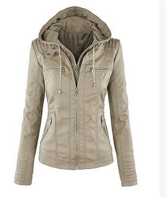 OMUUTR Damen Jacke Lederjacke Bikerjacke Jacket Herbst