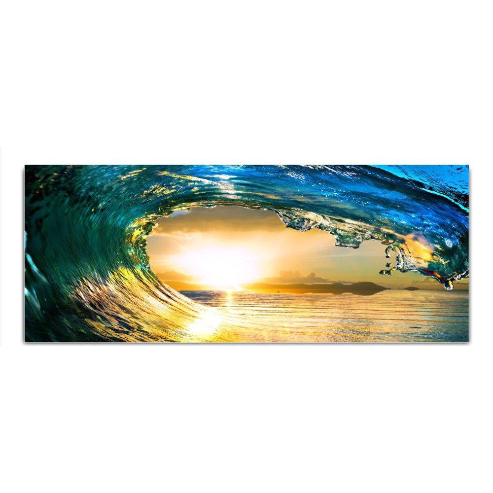 DekoGlas Glasbild 'Welle Meer Sonnenuntergang' Echtglas Bild Küche, Wandbild Flur Bilder Wohnzimmer Wanddeko, einteilig 125x50 cm
