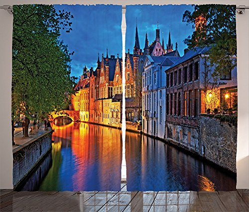 ins 2 Panel Set Night Shot of Historic Middle Age Building along the River in Bruges Heritage Old Town Photo Living Room Bedroom Decor Multi (Medieval Coastal Town Buildings)