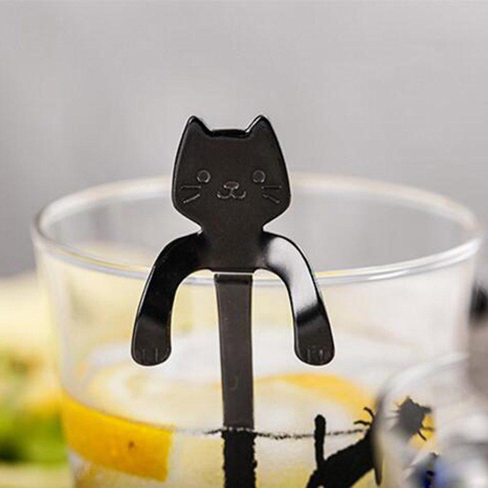 GGG cucharas café,cute gato de dibujos animados de acero inoxidable postre cucharas cuchara de café cubiertos vajilla color negro: Amazon.es: Hogar