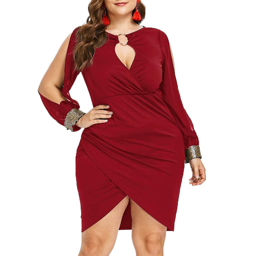 KESEELY Wrap Dress for Women - Fashion Long Sleeve Sequin Plus Size Keyhole Neck Ring Slit Bodycon Party Wedding Dress Wine