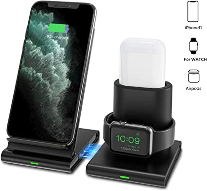 Seneo Wireless Charger, 3 in 1 Wireless Charging Station for Apple Watch, Airpods, Detachable and Magnetic Wireless Charging Stand for iPhone 11/11 ...