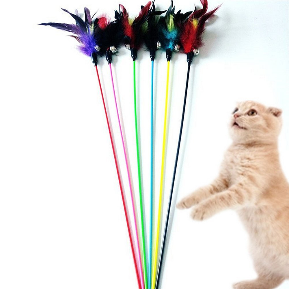 Topdo 5Pcs Pet Supplies Cat Kitten Teaser Interactive Feather Toy Cat Chaser Play Catcher Stick Wand Dangler Rod Training Telescopic Short Rod with Bell Plush(Random Color)