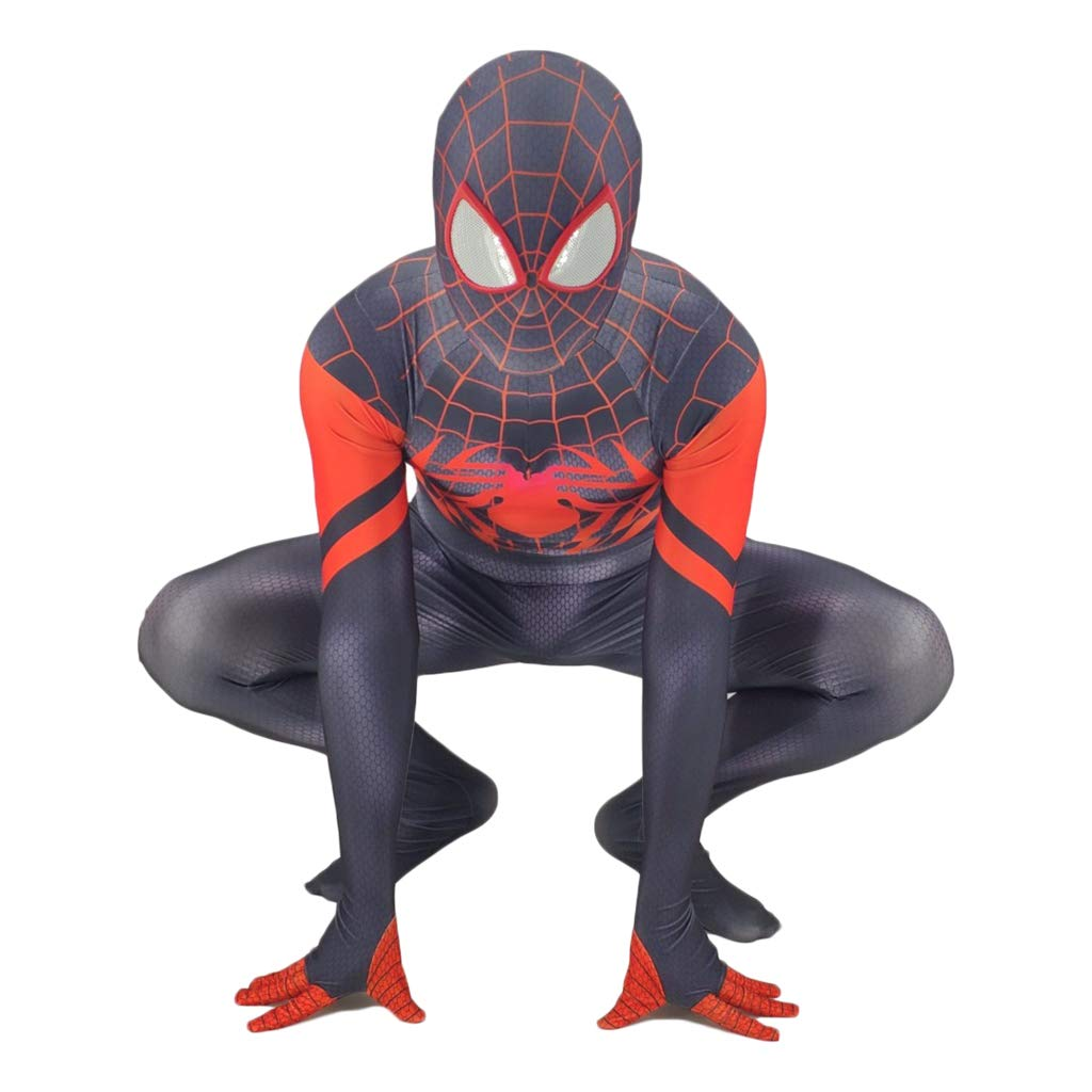 Miles Morales B XXL QWEASZER Fashion Miles Morales Into Spider Verse Cosplay Costume Spiderman SpiderMan Tights Jumpsuit Body Suit with Removable Mask Outfit Set for Halloween,Christmas,Party