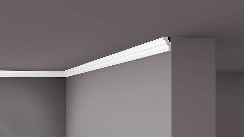 Cornisa//Moldura decorativa techo blanca NMC NOMASTYL/® A2 50X50X2000mm Poliestireno 10 metros