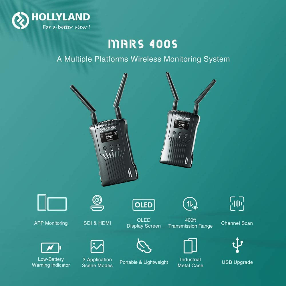 Hollyland Mars 400S 1080p HDMI SDI Transmitter 5G Wireless Image Transmission to 4 Devices in a Distance of 400ft Support Android /& iOS 3 Scene Modes W//Cold Shoes Mount Holder and Battery Kit