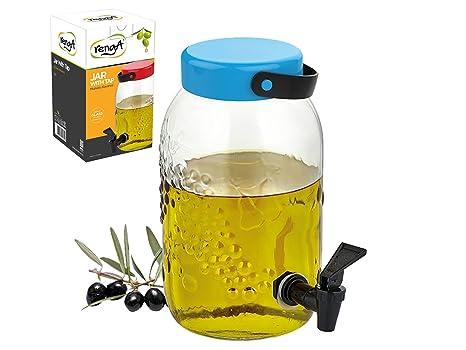 Dispensador de bebidas de cristal de 3,5 l, forma de tarro con grifo