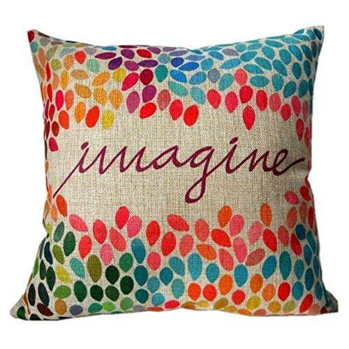 Decorbox Cotton Linen Square Decor Throw Pillow Case Cushion Cover Colorful Imagine 16 x 16 Inch