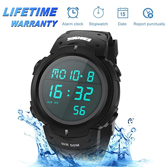 Sport Watch, 50M Waterproof Watch, Sport Wrist Watch for Men Women Kids, Digital