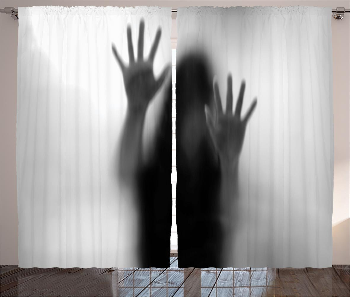 Horror House Decor Curtains by Ambesonne, Silhouette of Woman behind the Veil Scared to Death Obscured Paranormal Photo, Living Room Bedroom Window Drapes 2 Panel Set, 108W X 84L Inches, Gray